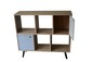 Mobile Preview: Sideboard MDF White Wash Blau Weiß Front 98,5 x 29 x 87 cm