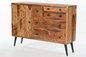 Mobile Preview: Sideboard Sheesham & Metall - natur mit schwarzen Beinen