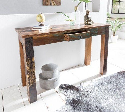 Konsolentisch Schreibtisch Highboard Anrichte Sideboard Industrie Holz 120x76 cm