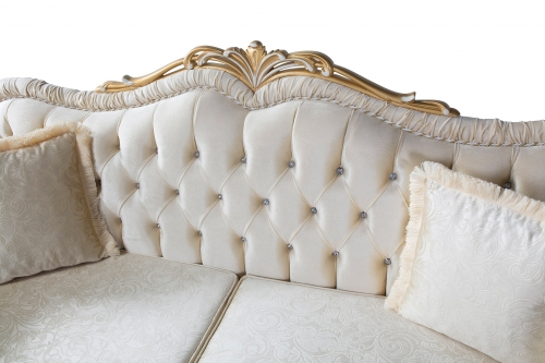 Sofa Couch Set Britta 3-Sitzer + 2-Sitzer + Sessel in Creme-Gold Barock