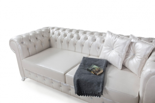 Sofa Couch Set Chelsea 3+2+1 in Weiss Sessel