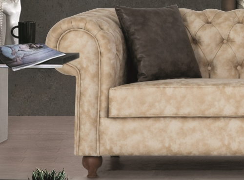 Sofa Couch Set Chelsea 3+2+1 in Creme Grün Sessel