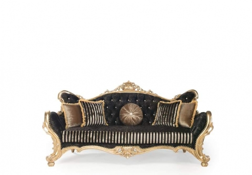 Couch Sofa Set Emily 3+3+1 in Schwarz Gold Sessel mit Armlehne Barock