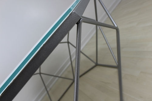 Couchtisch Silber Weiss Glas Wohnzimmer Tisch Metall