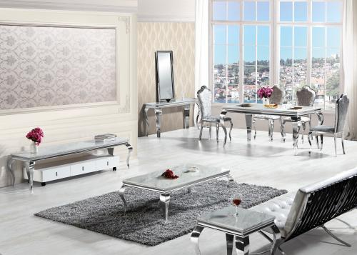 chrom edelstahl silber couchtisch marmor creme 130 x 70 cm. Black Bedroom Furniture Sets. Home Design Ideas