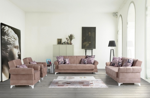 Sofa Couch Set Romina 3+2+1 mit Schlaffunktion Taupe