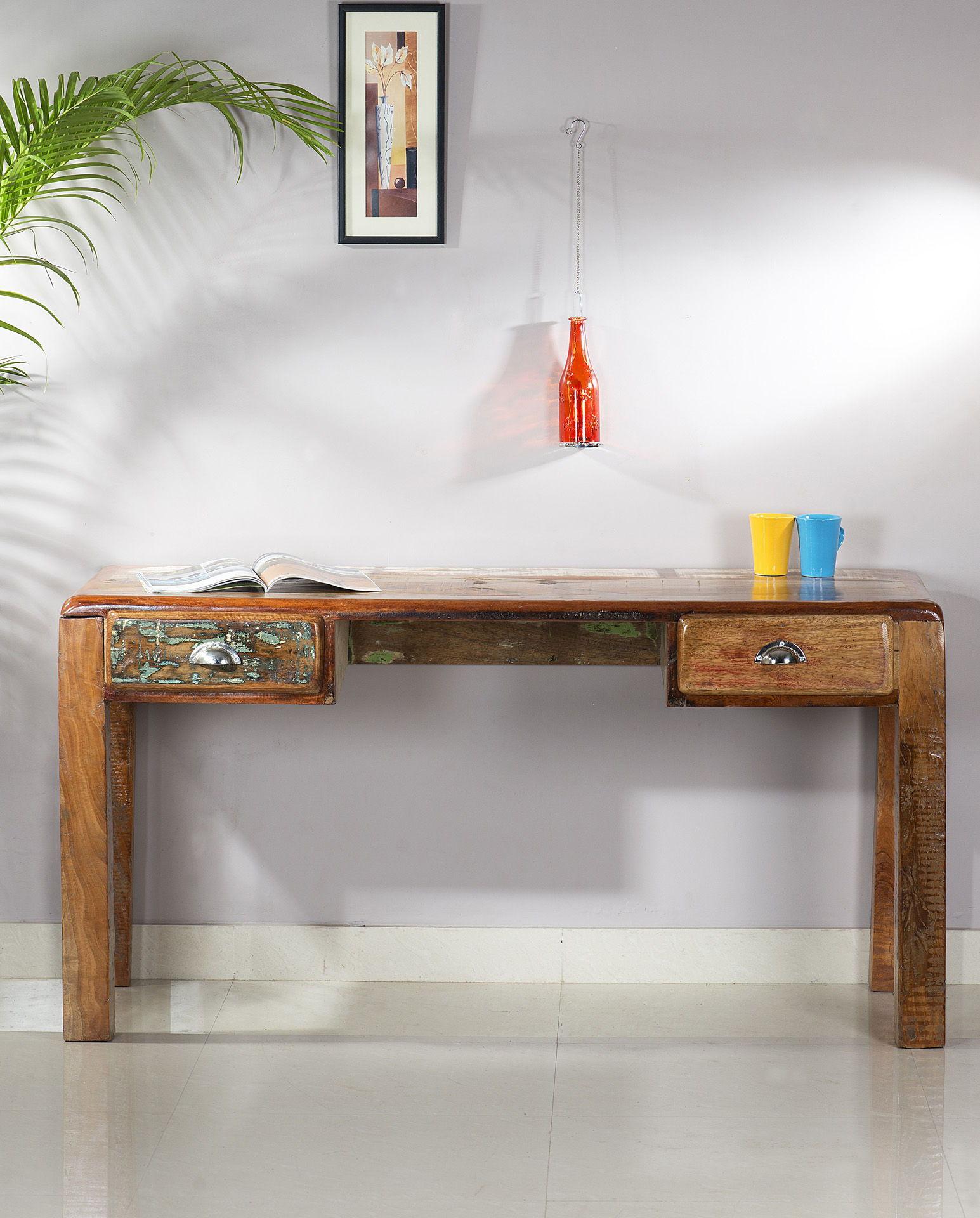 Malerisch Schreibtisch 140x60 Foto Von Aus Lackierten Altholz Bunt 140 X 60