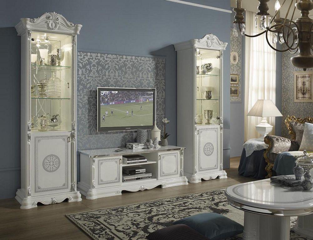 Great Wohnwandset 3 Tlg. Italienisch Barock   In Weiß/Silber