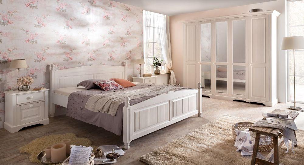 Perfekt Pina Schlafzimmerset 4 Tlg. Im Landhausstil In Weiß