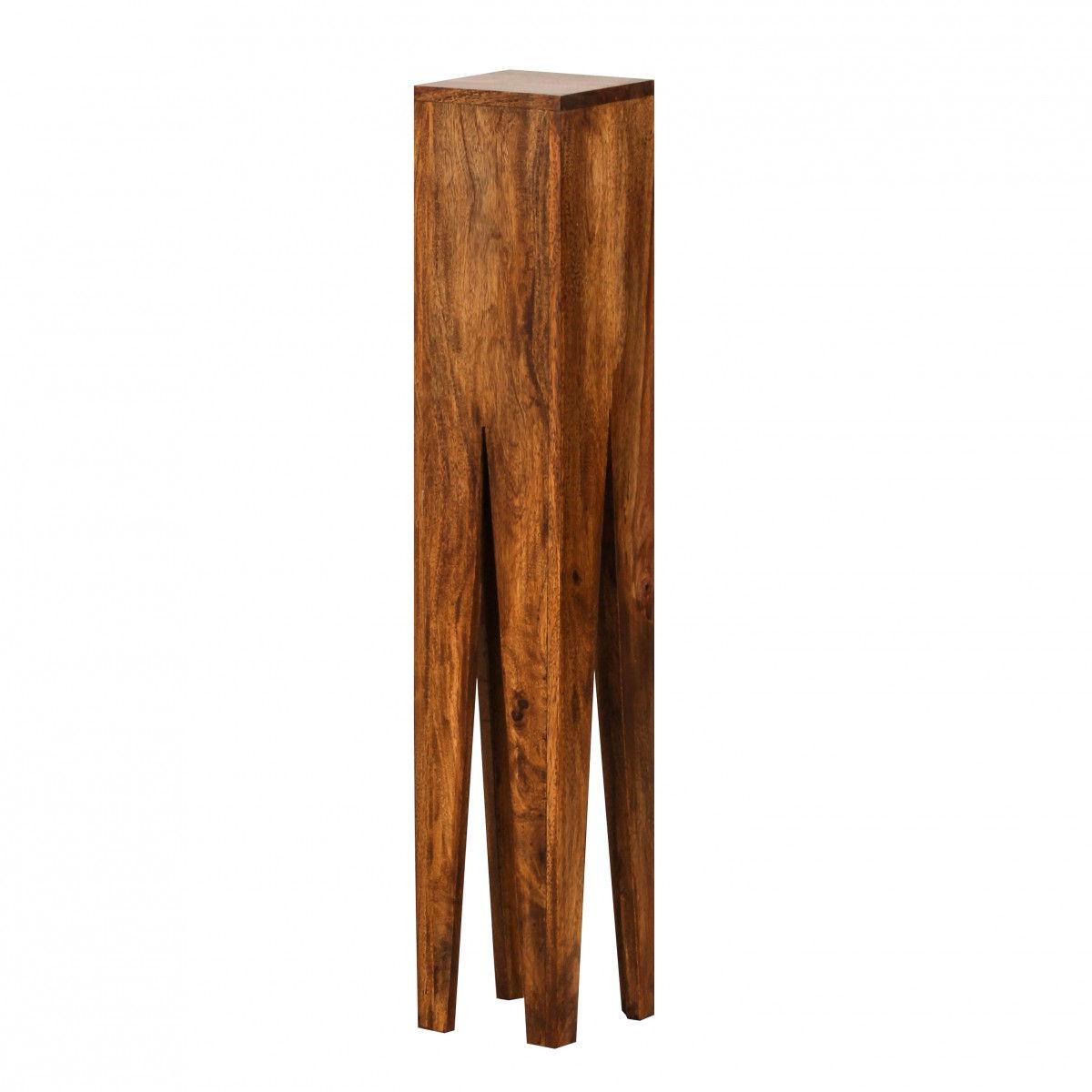 Weran Beistelltisch 3er Set KADA Massivholz Sheesham Wohnzimmer Tisch  Design Säulen Landhausstil Couchtisch Quadratisch