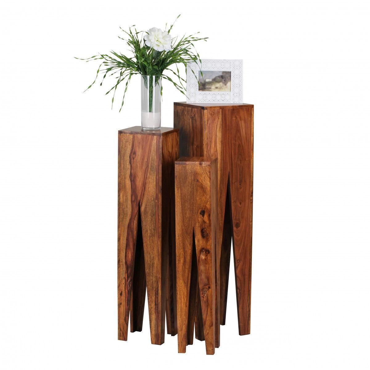Lieblich Weran Beistelltisch 3er Set KADA Massivholz Sheesham Wohnzimmer Tisch  Design Säulen Landhausstil Couchtisch Quadratisch