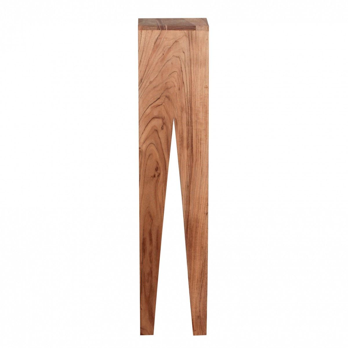 Weran Beistelltisch 3er Set KADA Massivholz Akazie Wohnzimmer Tisch Design  Säulen Landhausstil Couchtisch Quadratisch