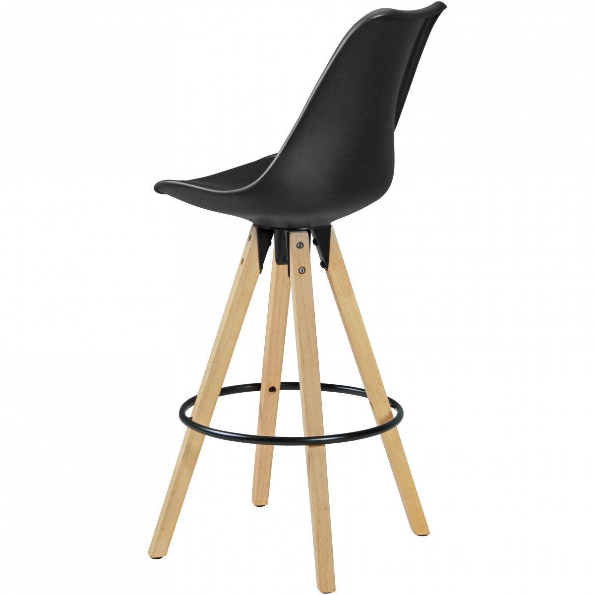 Weran 2er Set Barhocker Lima Schwarz Retro Design Kunstleder Holz Mit Lehne