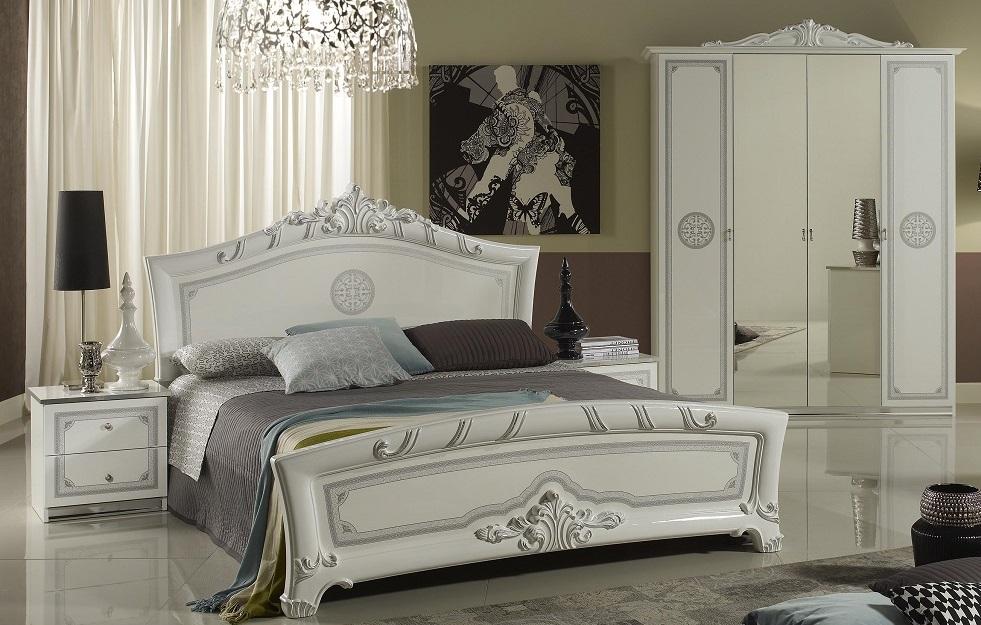 Gina Schlafzimmerset 6-tlg. - Bett 160cm - Kleiderschrank 4-Trg. - Barock  Weiss/Silber
