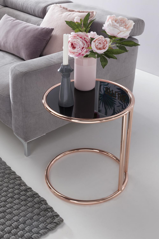 Weran design beistelltisch metall glas 45 cm schwarz for Beistelltisch glas metall schwarz