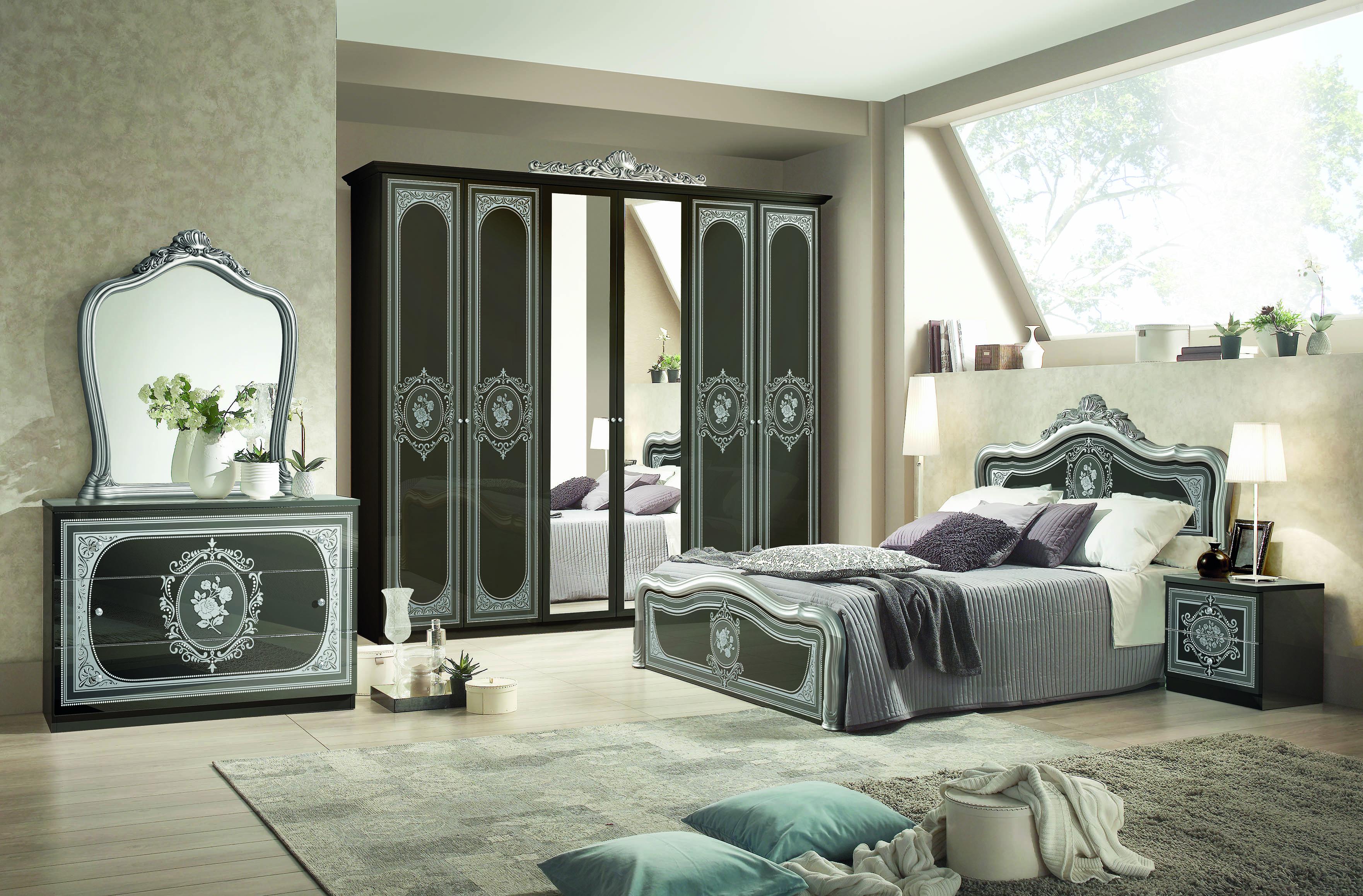 Anita Schlafzimmerset 6-tlg. - Bett 180cm - Barock in Schwarz/Silber
