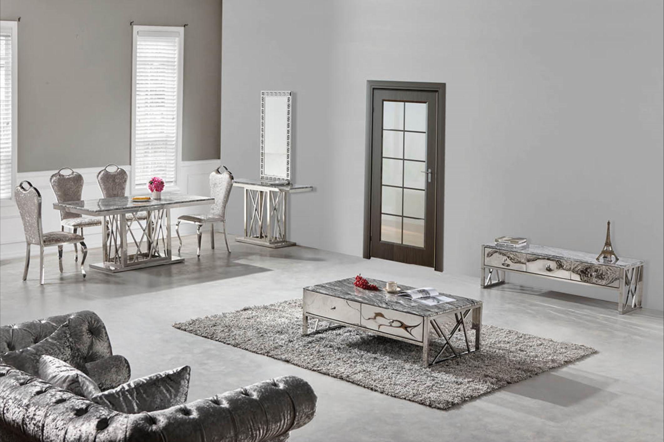 chrom edelstahl silber esstisch 160 x 90 cm glas marmor. Black Bedroom Furniture Sets. Home Design Ideas