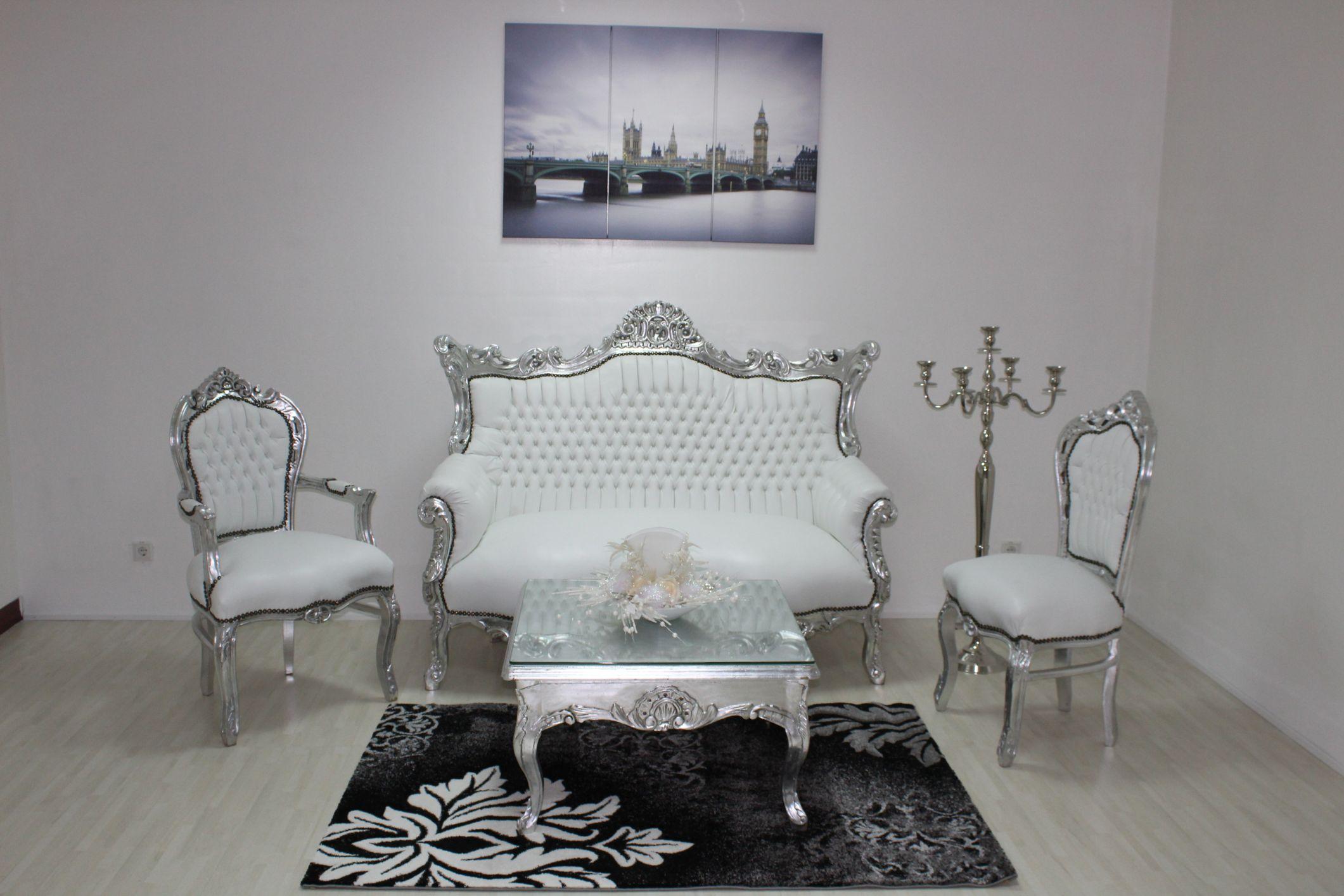 decopoint m bel in troisdorf barock sitzbank 2 sitzer silber wei kunstleder. Black Bedroom Furniture Sets. Home Design Ideas