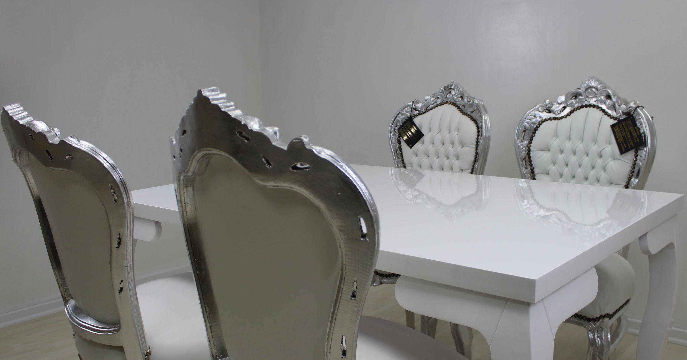 Esstisch Barock / Shabby In Weiß Mit 4 Barock Stühle In Weiß/Silber