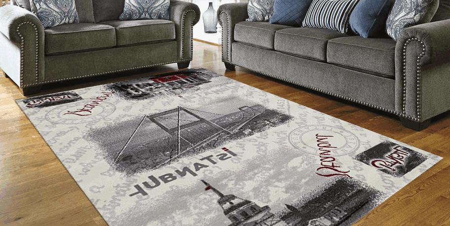 Kylie Teppich Design Modern Istanbul Brücke Rechteck Grau Rot