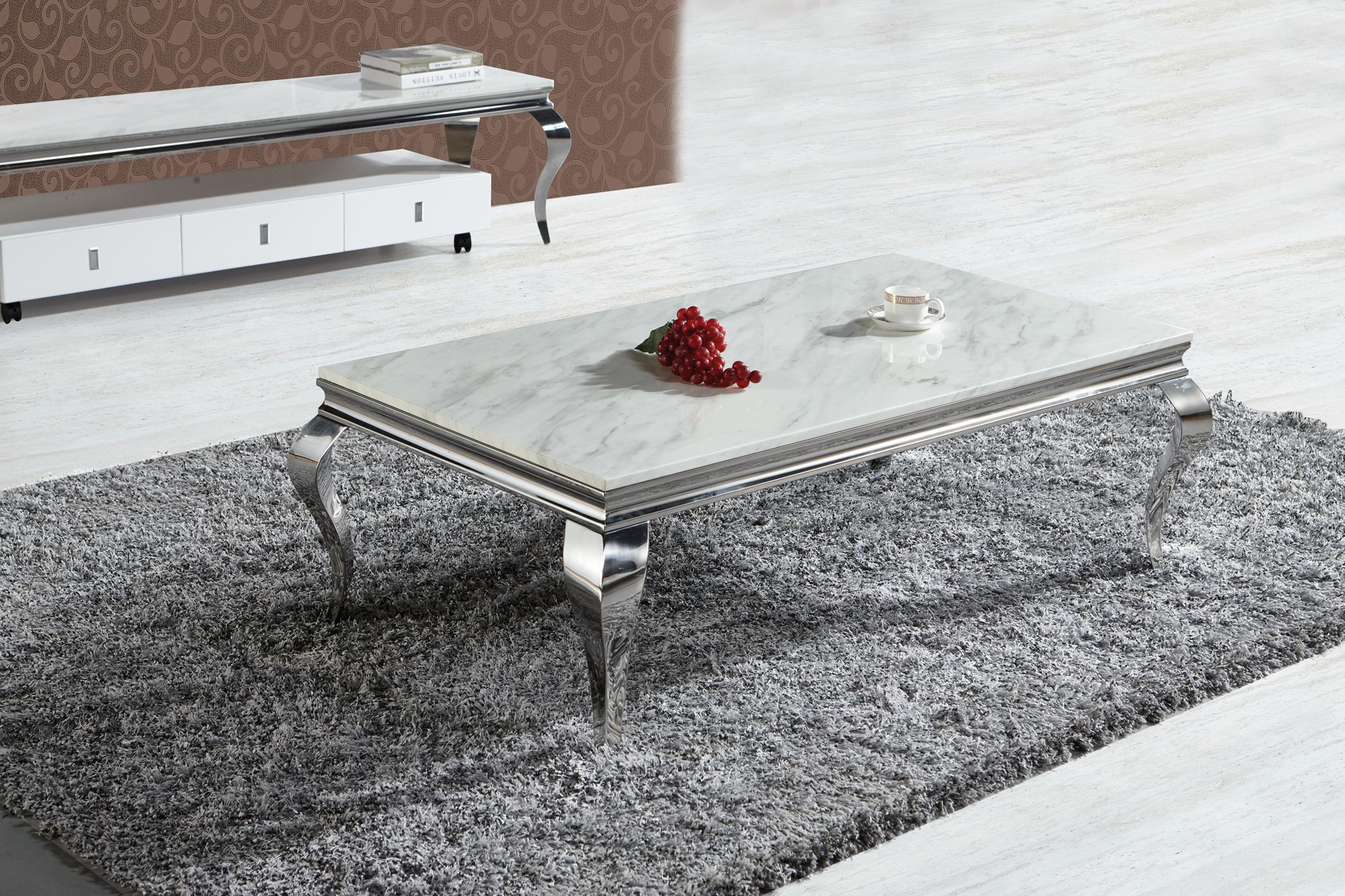 Couch Tisch Polo In Chrom Optik Silber Aus Metall Edelstahl 130 X 70 Cm Mit Marmoroptik Steinplatte In Creme