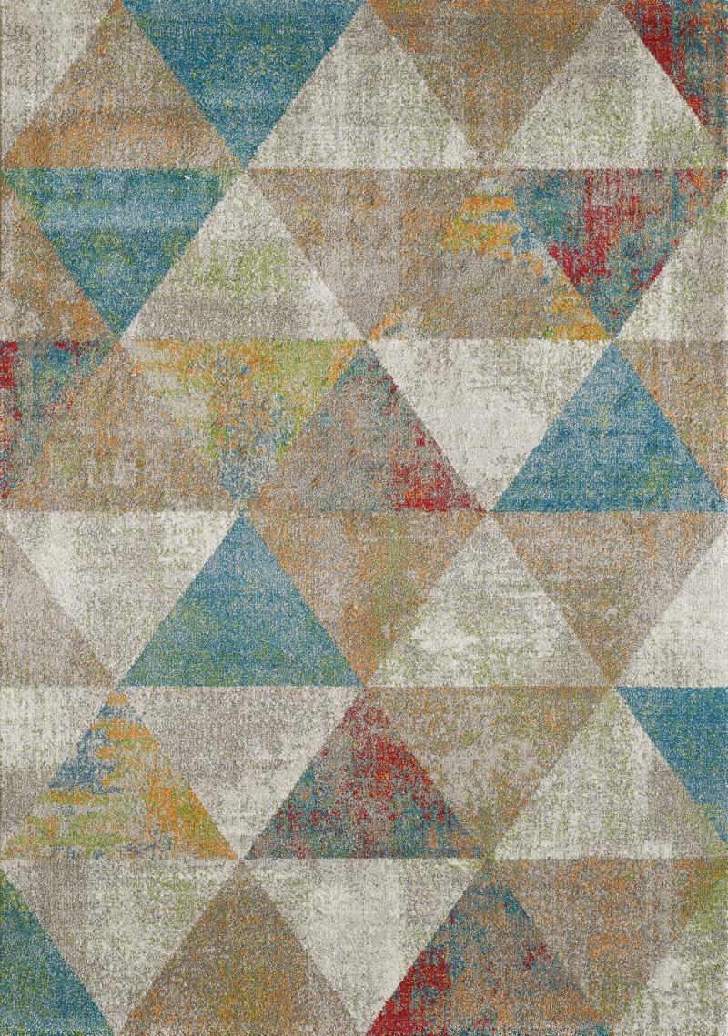 Vintage Teppich Beige Braun Blau Creme Grau Muster Design Kurzflor