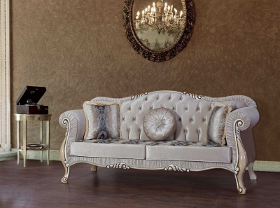 Sofa Couch Set Diamant 3+2+1 in Weiss Sessel